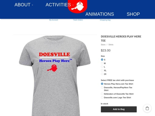 Buy your favorite Doesville Heroes Play Here Black Print t-shirt