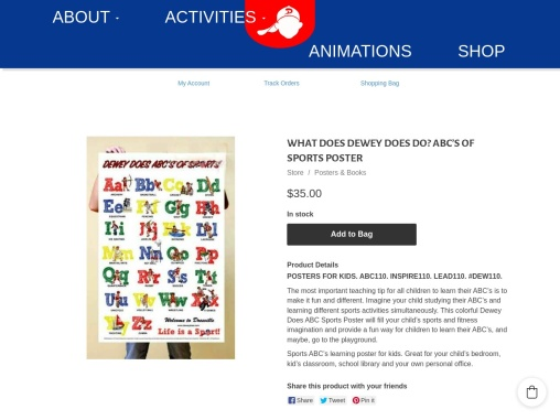 Dewey Does ABC's of Sports provides a fun way for children to learn their ABC's.