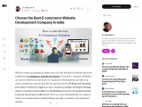 Choose the Best E-commerce Website Development Company in India