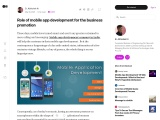 Role of mobile app development for the business promotion