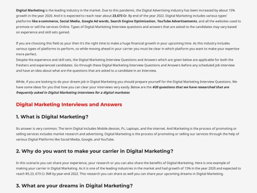 Digital Marketing Interview Questions & Answers – Digital Mantra Academy