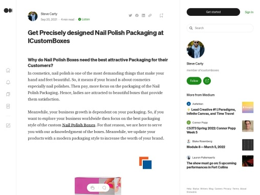 Get Precisely designed Nail Polish Packaging at ICustomBoxes
