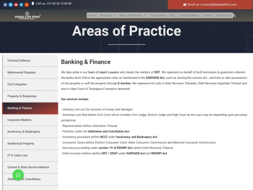Best Banking And Finance Lawyers In Hyderabad India | Disha Law Firm