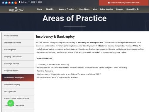 Famous Bankruptcy & Insolvency Lawyers In Hyd | Disha Law Firm