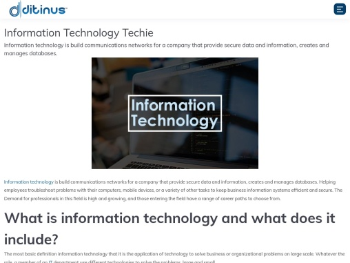 Information Technology Techie ++++++