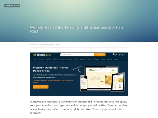 WordPress Website For Small Business Is A Fair Idea