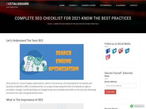 COMPLETE SEO CHECKLIST FOR 2021-KNOW THE BEST PRACTICES