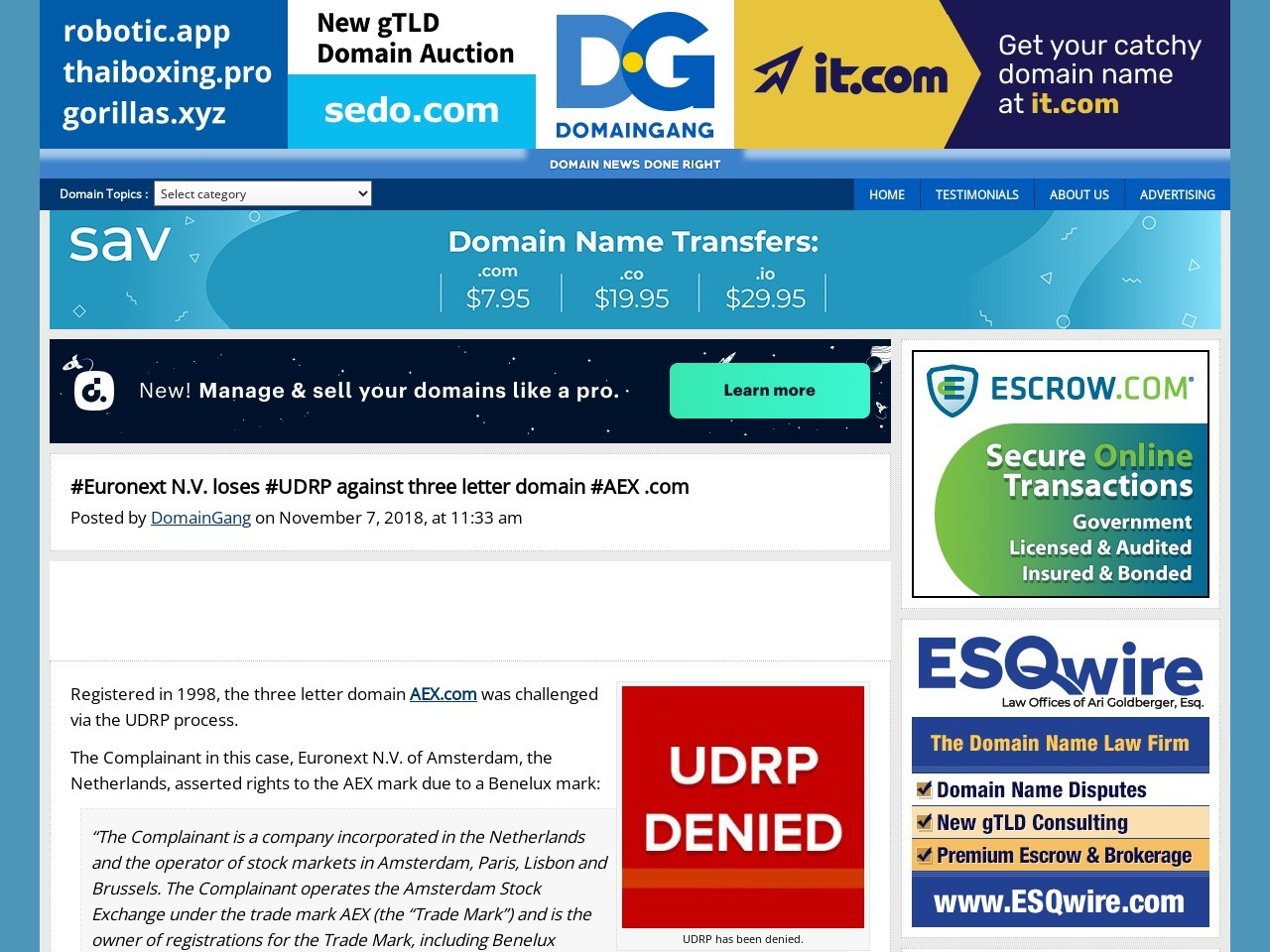 #Euronext N.V. loses #UDRP against three letter domain #AEX .com