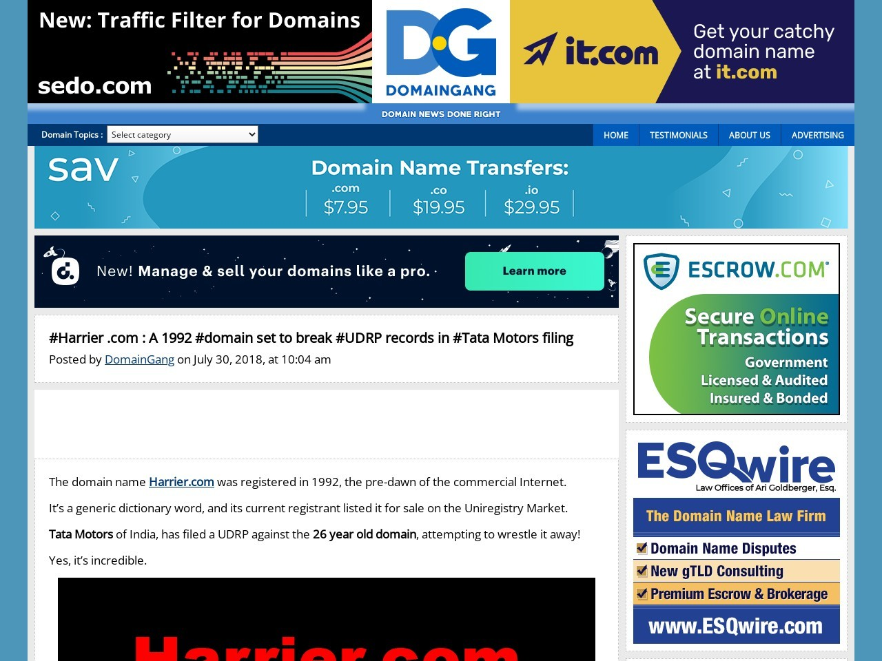 #Harrier .com : A 1992 #domain set to break #UDRP records in #Tata Motors filing