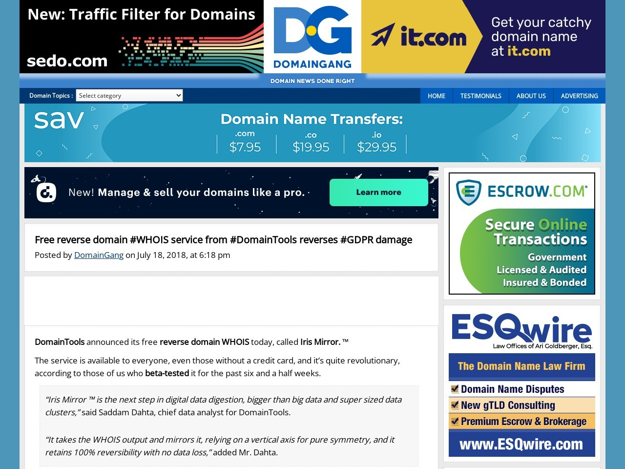 Free reverse domain #WHOIS service from #DomainTools reverses #GDPR damage