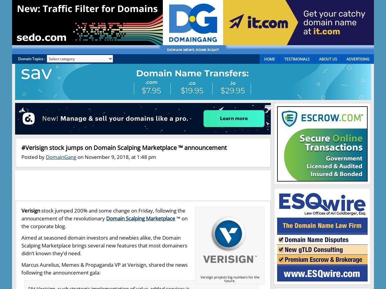 #Verisign stock jumps on Domain Scalping Marketplace ™ announcement