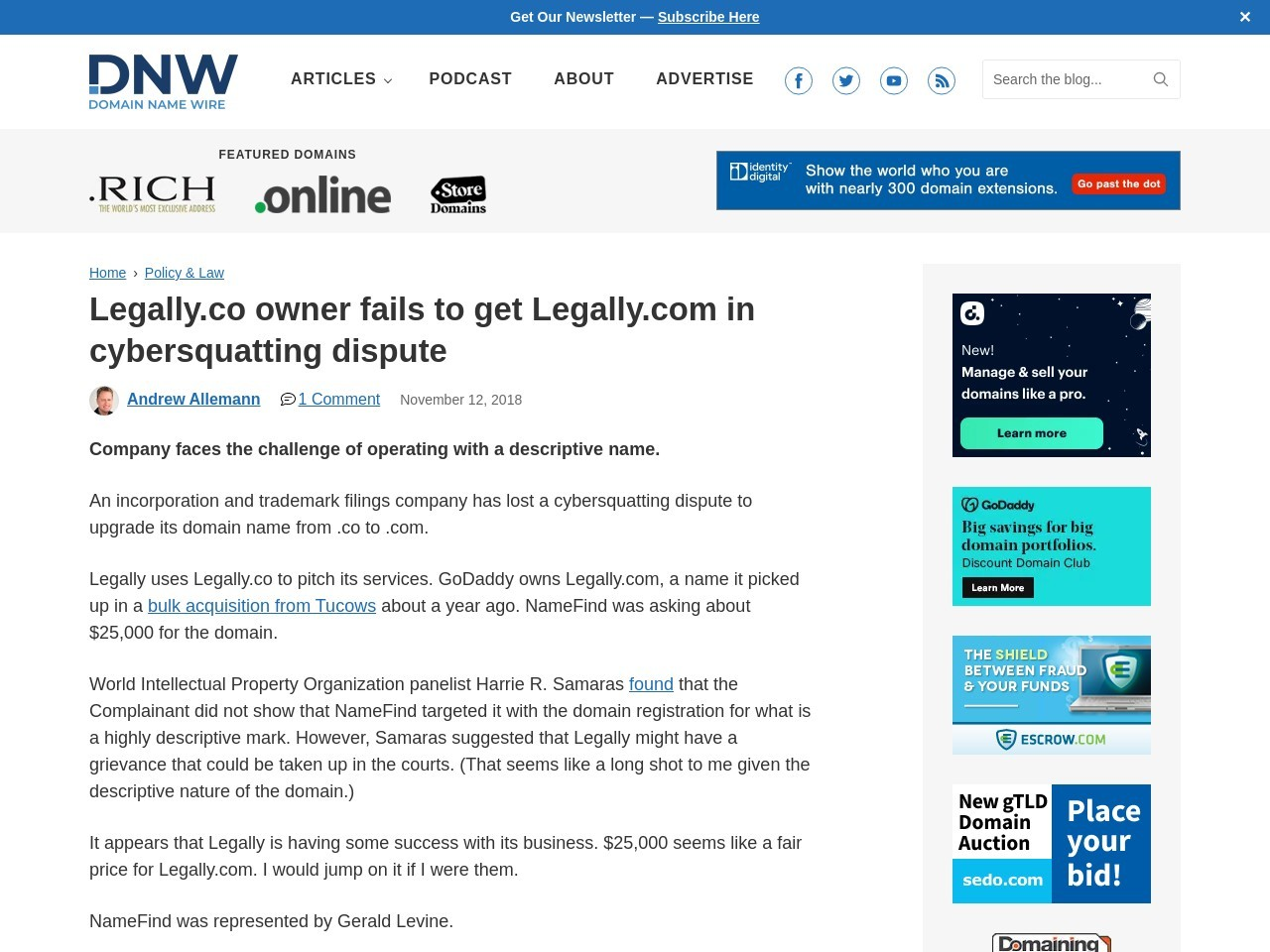 Legally.co owner fails to get Legally.com in cybersquatting dispute