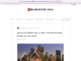 what are the different ways to settle in Australia Permanent Resident Visa from India?