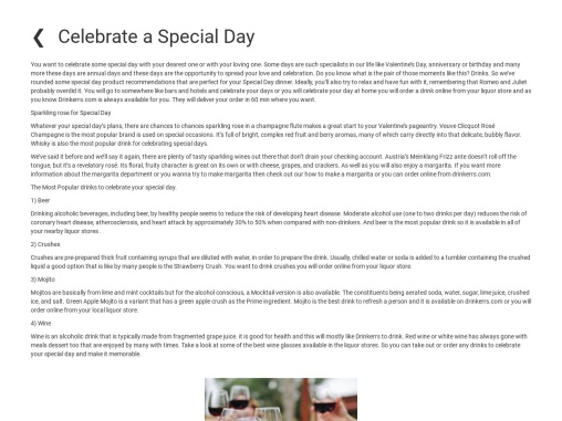 Celebrate a Special Day For Drinkerrs
