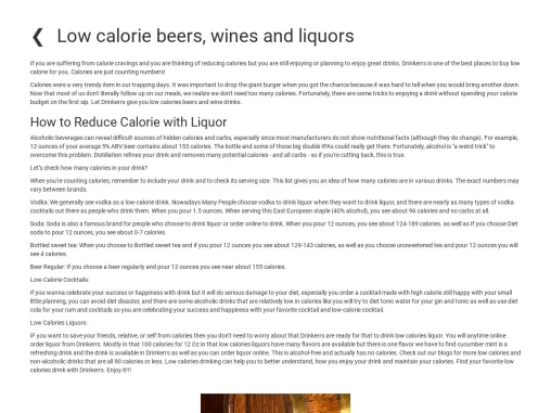 Low calorie beers, wines and liquors