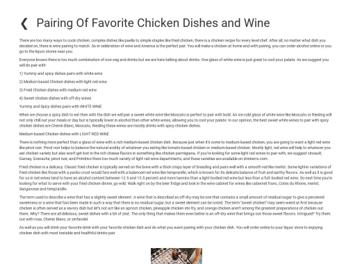 Pairing Of Favorite Chicken Dishes and Wine