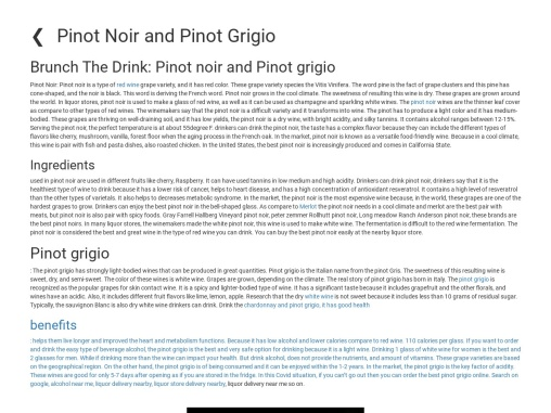 Pinot Noir and Pinot Grigio for drinkers
