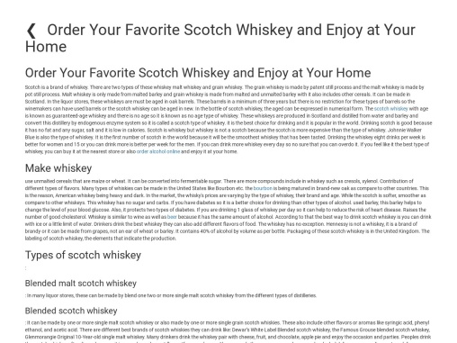 Order Your Favorite Scotch Whiskey and Enjoy at Your Home