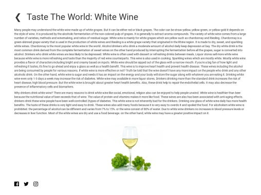 Taste the World: White Wine for drinkerrs