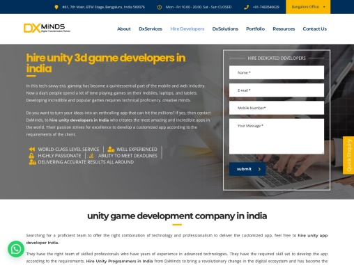 Hire Dedicated Unity 3d developers in India
