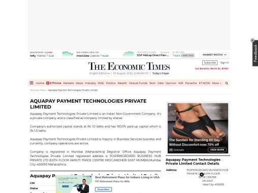 AQUAPAY PAYMENT TECHNOLOGIES PRIVATE LIMITED
