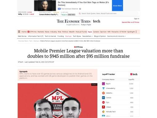 Mobile Premier League valuation more than doubles to $945 million after $95 million fundraise