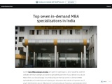 Top seven in-demand MBA specializations in India