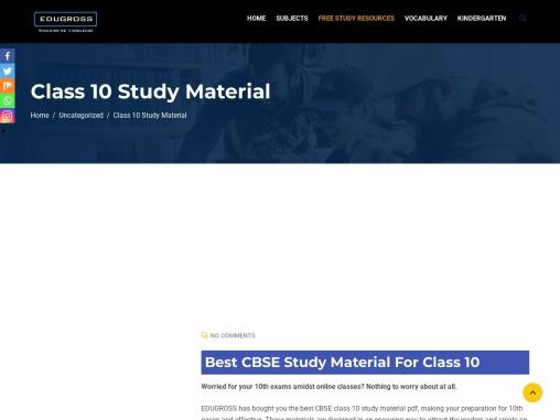 CBSE study materials for class 10