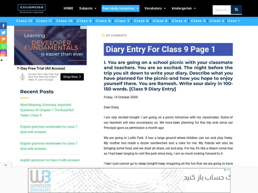 Class 9 Diary Entry | Edugross [Download For Free]