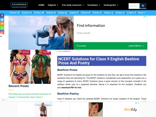 NCERT Solutions For Class 9 English Beehive Prose and Poetry