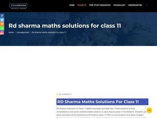RD Sharma Maths Solutions For Class 11