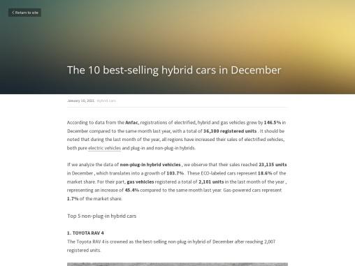 The 10 best-selling hybrid cars in December
