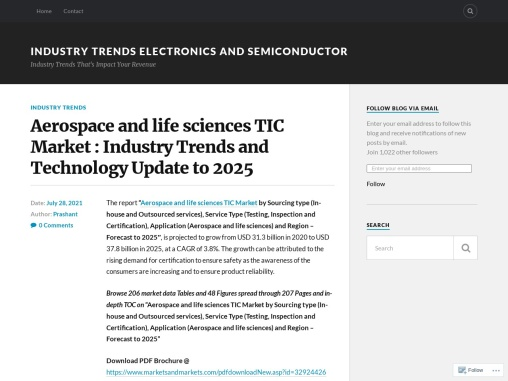 Aerospace and life sciences TIC Market : Industry Trends and Technology Update to 2025