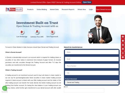 Open Demat Trading Account online in 20 mins Low Brokerage Elite Wealth
