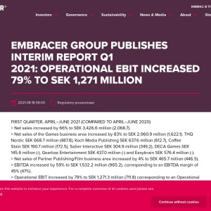 Embracer Group publishes Interim Report Q1 2021:OPERATIONAL EBIT INCREASED 79% TO SEK 1,271 MILLION - Embracer