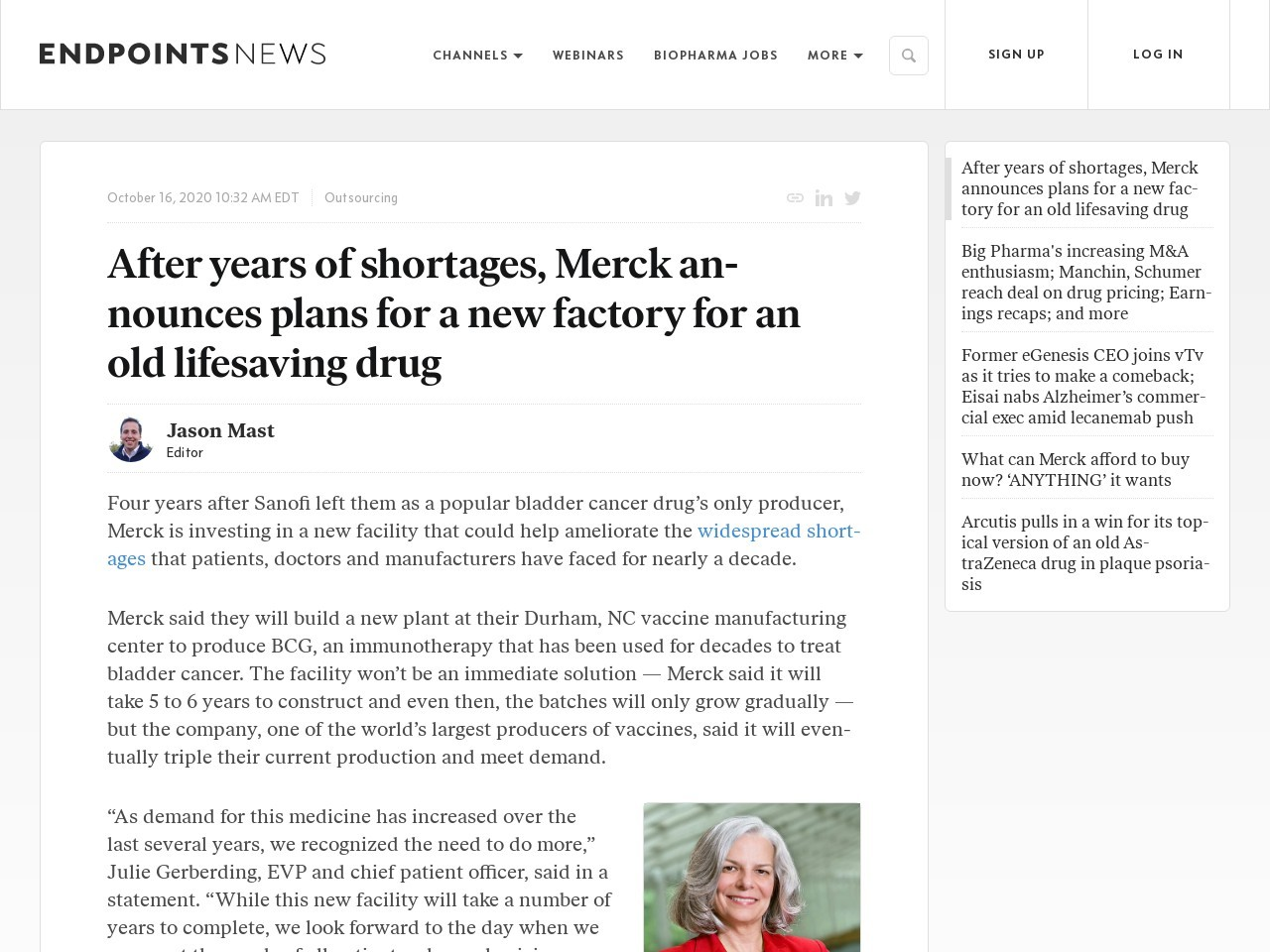 After years of shortages, Merck announces plans for a new factory for an old lifesaving drug
