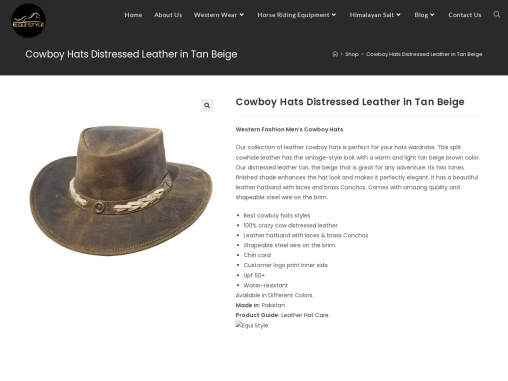 Cowboy Hats Distressed Leather in Tan Beige   Equi Style