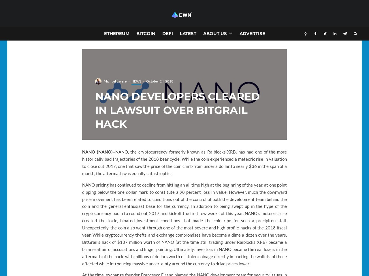 NANO Developers Cleared in Lawsuit over BitGrail Hack