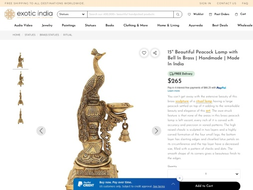 Beautiful Brass Made Peacock Lamp with Bell