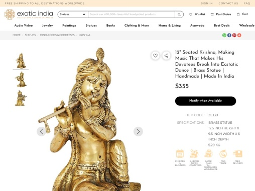 Seated Krishna Brass Statues-Making Music That Makes His Devotees Break Into Ecstatic Dance
