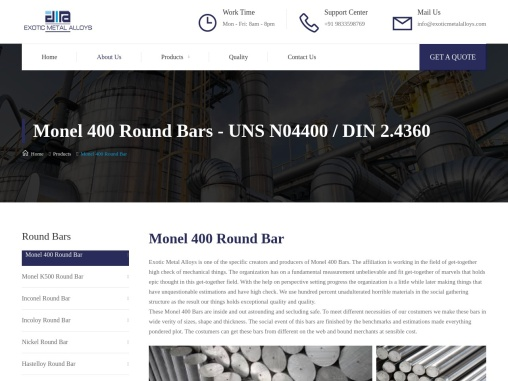 Alloy 400 Bar Dealers in India