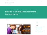 Benefits to study BEd course for the teaching career