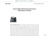 Canon High Speed Scanners| Canon Photocopier On Rent