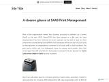 A closure glance at SAAS Print Management