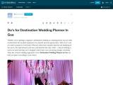 Do's for Destination Wedding Planner In Goa
