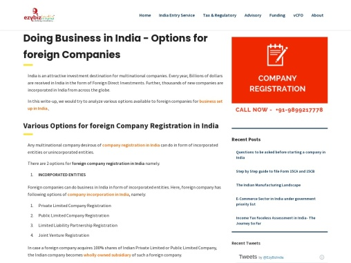 Doing Business in India – Options for Foreign Companies