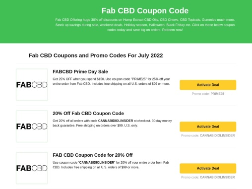 Fab CBD Coupon Code | Fab CBD Coupon