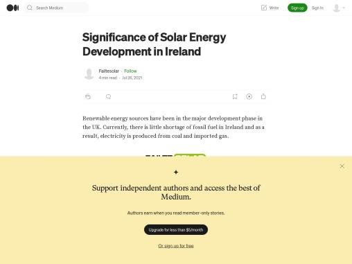 Significance of Solar Energy Development in Ireland