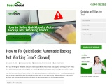 Know how to fix QuickBooks Automatic Backup not Working Error?