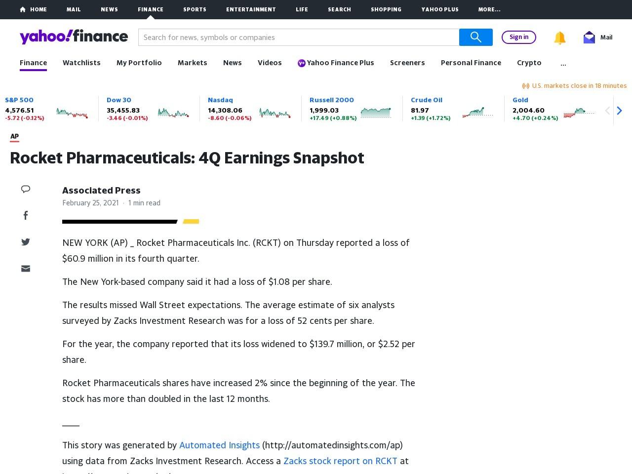 Rocket Pharmaceuticals: 4Q Earnings Snapshot – Yahoo Finance